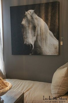 oversize horse art for a seating area   |   Lucketts Design House August 2013