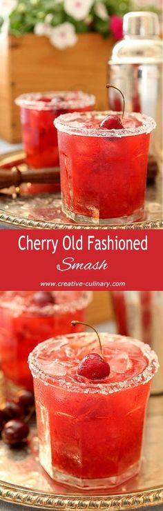 This Cherry Old Fashioned Smash is a favorite during cherry season; make sure yo… This Cherry Old Fashioned Smash is a favorite during cherry season; make sure you grab some since they are soon gone and this one should not be missed! Fancy Drinks, Bar Drinks, Non Alcoholic Drinks, Cocktail Drinks, Cocktail Recipes, Beverages, Cherry Cocktails, Fall Cocktails, Whiskey Cocktails