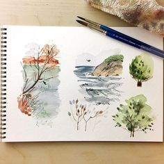 Found this awesome watercolor book at the library a few weeks ago but haven't had time to try it out until today! These are all illustrations I learned from the book but I'm hoping I can learn the techniques well enough to apply them to my own paintings! ------------------------------- Book: Creating Textures in Watercolor by Cathy Johnson Brushes: @winsorandnewton Cotman round 10 and 6 Paint: @sakuraofamerica Koi Paper: @strathmoreart 400 series watercolor . . . . . . . . . #watercolor…