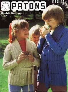 "vintage childs / childrens long belted cardigan knitting pattern PDF DK cable shawl collar jacket 22-28"" DK Light worsted Instant Download by Minihobo on Etsy"