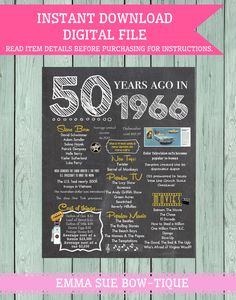 1966: 50 Years Ago Chalkboard Sign Digital File por EmmaSueBowtique