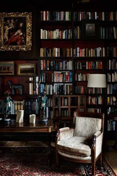 Best Old Home Library Room Design And Decorating Ideas Workspaces Design, Floor To Ceiling Bookshelves, Wood Bookshelves, Library Room, Cozy Library, Future Library, Library Table, Home Design, Interior Design