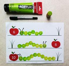 chenilles en peinture à partir d'un nombre (maths)