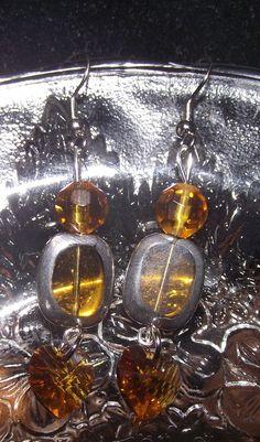 Amber Heart Earrings by reddirtroseokc on Etsy