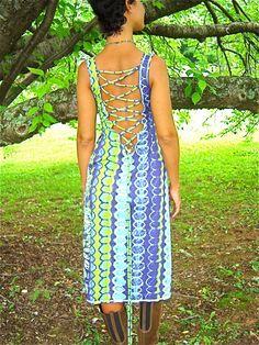The Ariadne Lace Up Backless Sleeveless Tank Summer Dress in neon blue green snakeskin - Burning Man, Beachside, Resort wear