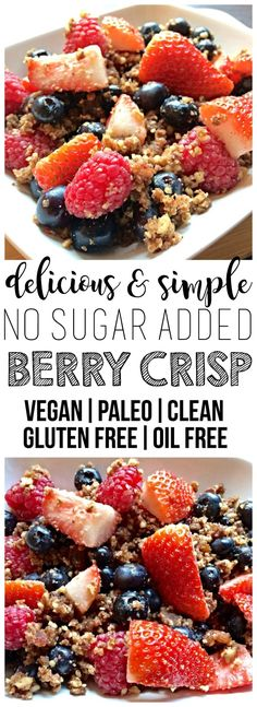 This simple and delicious Vegan Berry Crisp is the perfect breakfast, snack, or . This simple and delicious Vegan Berry Crisp is the perfect breakfast, snack, or . Breakfast And Brunch, Breakfast Snacks, Perfect Breakfast, Vegan Breakfast Recipes, Vegan Gluten Free Breakfast, Dessert Sans Gluten, Paleo Dessert, Dessert Recipes, Dessert Food