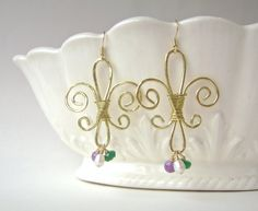 Mardi Gras Earrings Fleur de Lis Gemstone Jewelry by MariesGems, $17.00