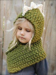 Pattern: The Dalton Dino Cowl by The Velvet Acorn Bonnet Crochet, Knit Crochet, Crochet Hats, Knitted Hat, Knitting Projects, Crochet Projects, Baby Knitting Patterns, Crochet Patterns, Velvet Acorn