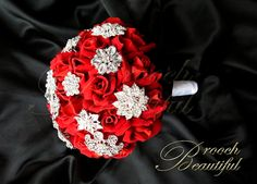 Red Velvet Rose Brooch Bouquet - READY TO SHIP on Etsy, $225.00
