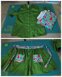 easy apron- great for using a shirt and a few fabric pieces! easy apron- great for using a shirt and a few fabric pieces! Sewing Hacks, Sewing Tutorials, Sewing Patterns, Sewing Tips, Apron Patterns, Sewing Ideas, Embroidery Patterns, Hand Embroidery, Fabric Crafts