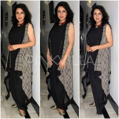 Actress Tisca Chopra has turned producer with a short film and she was snapped at a media event for the same in the capital yesterday. Indian Dresses, Indian Outfits, Western Dresses, Kurta Designs, Blouse Designs, Ethnic Fashion, Indian Fashion, Fashion News, Fashion Outfits