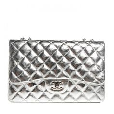 CHANEL Metallic Calfskin Quilted Jumbo Single Flap Silver ❤ liked on Polyvore featuring bags, handbags, shoulder bags, chanel purses, quilted purse, evening purse, shoulder strap handbags and white handbags