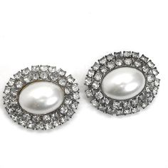 """Vintage Musi signed shoe clips with prong-set rhinestones and pearl cab centers. Silver plated clips were patented in 1969. Maker: Musi Material: glass Approximate Size: 1"""" x 1 1/4"""" Condition: very good pre-owned condition. Your purchase will be shipped in an attractive jewelry gift box."""