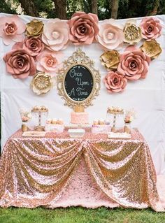 Once Upon A Time 1st Birthday Party Idea. Paper Flower Backdrop for Dessert table. Rose gold and pink rosette tablecloth | A Touch of Pink