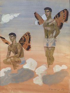 Τσαρούχης Γιάννης – Yannis Tsarouchis [1910-1989], Δύο άνδρες με φτερά πεταλούδας, 1965 | paletaart Modern Art, Contemporary Art, Greece Painting, France Art, Queer Art, Angel And Devil, Unusual Art, Classical Art, Naive Art