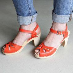 Image of High Heel 'Rio' Clogs - Orange