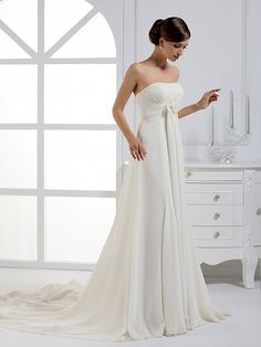 2014 Fall Strapless Chiffon over Satin bridal gown with Empire waist