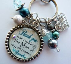 Mother of the Groom Gift, Thank you for raising the man of my dreams, PERSONALIZED keychain daughter in law mother in law beautiful quote. $26.99, via Etsy.