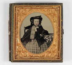 ANTIQUE-1-6-PLATE-AMBROTYPE-PHOTO-of-GIRL-w-LACE-GLOVES-PLAID-BONNET-amp-DRESS