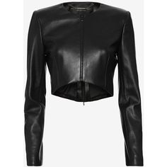 Barbara Bui Clean Crop Leather Jacket: Black (2,520 CAD) ❤ liked on Polyvore featuring outerwear, jackets, black, leather jacket, lined leather jacket, lined jacket, real leather jacket and genuine leather jacket