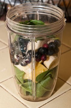 1 cup spinach, 5 pineapple cubes, 1 banana, handful of blueberries, 3 basil leaves, chia seeds. Add almond milk (3 ice cubes-optional). Blend.