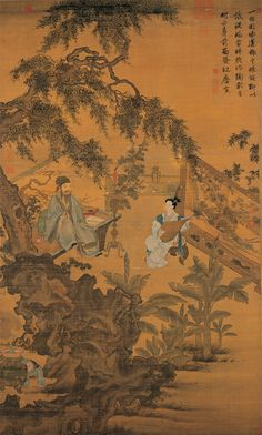 Tang Yin(唐寅 Chinese, 1470-1523)  Tao Gu Presenting a Verse 陶穀贈詞図  Hanging scroll, ink and colors on silk  Ming dynasty (1368-1644)