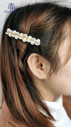 Handmade Wire Jewelry, Handmade Hair Bows, Diy Hair Bows, Diy Hair Clips, Hair Beads, Turbans, Hair Jewelry, Pearl Jewelry, Hair Accessories For Women