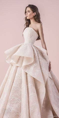 saiid kobeisy 2018 bridal strapless straight across neckline full embellishment peplum romantic princess blush color ball gown wedding dress chapel train (3260) zv