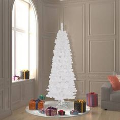 The Holiday Aisle® North Valley White Spruce Artificial Christmas Tree with Clear/White Lights & Reviews | Wayfair White Artificial Christmas Tree, Holiday Tree, Holiday Decor, White Spruce, Metal Tree, White Light, Decorative Pillows, Bulb, Ceiling Lights