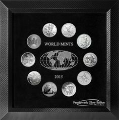 2015 World Mint Collection - Featuring the American Eagle, Canadian Maple Leaf, Mexican Libertad, British Britannia, Austrian Philharmonic, Australian Funnel-Web Spider, Somalian Elephant, New Zealand Turtle, Armenian Noah's Ark and the Chinese Panda. All coins in air-tite cases inside a foam insert (for easy removal & cleaning) displayed in a brilliant wooden frame with an engraved Plexiglas acrylic.