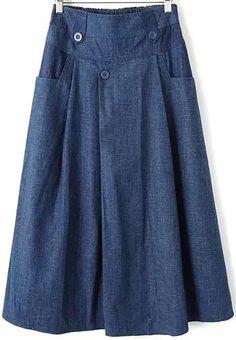 Elastic Waist With Pockets Blue Skirt 28.00