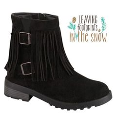 HP 10/16SUEDE MOCCASIN HIKERS WITH BUCKLES THEY'RE HERE! Ok here's a blend that will get your day going!   Boho, hippie chick fringe combined with biker babe buckles!Grips on soles and heels. Love these! In black. More info to come when they arrive.♦️SIZES: 5.5-1, 6.0-1, 6.5-2, 7.5-1, 9.0-1. PLEASE DO NOT BUY THIS LISTING! I will personalize one for you.  FITS TRUE TO SIZE. COMFY. tla2 Shoes Ankle Boots & Booties