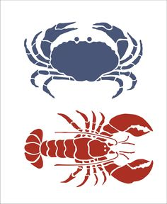 Stencils-- Crab and Lobster--for painting a set on canvas? super cute to do like, 4 small canvases, do each of these and maybe a helm and anchor or something?? and do each in a different color. CUTE.