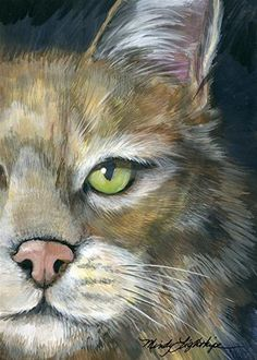"""Daily Paintworks - """"Wildlife Art """"Bobcat"""" The Art of Nature, Fine Art by Mindy Lighthipe"""" - Original Fine Art for Sale - © Mindy Lighthipe"""