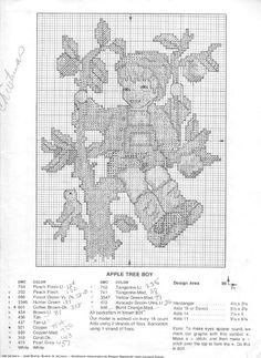 """Apple Tree Boy"" Hummel cross stitch pattern and symbol key"
