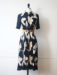 Vintage Japanese Dress 60s Navy Floral Pleated by StandardVintage, $72.00