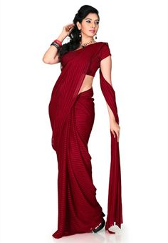 Maroon Brasso Faux Georgette Saree with Blouse