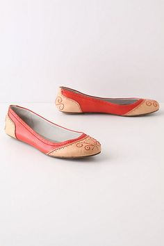 Subtle embroidery, perforations, and red? Yes please.   Bold-Tone Spectators #anthropologie