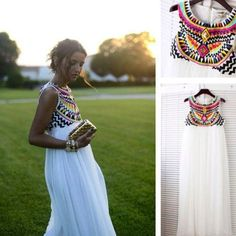 BEJEWLED MAXI DRESS in WHITE