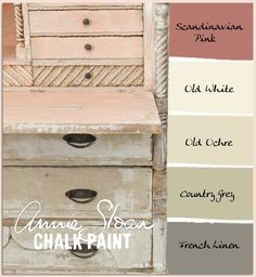 """These colors screams """"Shabby Chic"""" to me. ~ Scandinavian Pink, Old White, Old Ochre, Country Grey and French Linen - ~ COLORWAYS Annie Sloan Chalk Paint can be mixed with Old White to form pastels Annie Sloan Chalk Paint White, Annie Sloan Paints, White Chalk, Chalk Paint Projects, Chalk Paint Furniture, Couleurs Annie Sloan, Furniture Makeover, Diy Furniture, Dresser Makeovers"""