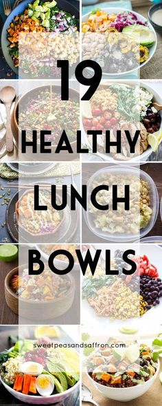 Healthy Make Ahead Lunch Bowls 19 Healthy Lunch Bowls! These are all make-ahead lunch recipes that are perfect for a work Healthy Lunch Bowls! These are all make-ahead lunch recipes that are perfect for a work lunch. Make Ahead Lunches, Prepped Lunches, Clean Eating Lunches, Make Ahead Healthy Meals, Easy Meals, Healthy Meal Prep, Healthy Cooking, Healthy Grains, Healthy Recipes For Lunch