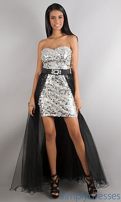 Short Sequin Strapless Sweetheart Dress with Detachable Long Skirt at SimplyDresses.com