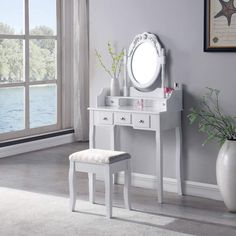 SALBAY Dressing Table With Stool Dresser Set 1 Mirror 5 Drawer Makeup Desk White Bedroom: Amazon.co.uk: Kitchen & Home