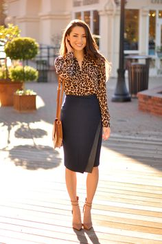 Leopard blouse and navy pencil skirt