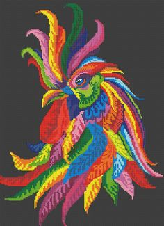 Rooster радужный Жираф - Радужное Puzzle created by Clarkmega Image copyright: Norsvet Modern Cross Stitch, Cross Stitch Charts, Cross Stitch Patterns, Rooster Cross Stitch, Cross Stitch Animals, Cross Stitching, Cross Stitch Embroidery, Hand Embroidery, Pixel Art
