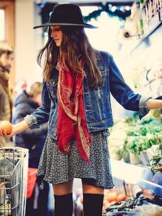 BOHEMIAN[spring]: denim jacket over a knit dress; red scarf; hat; over the knee socks.