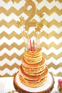 Pancake birthday 'cake' (for morning parties) perfect for sleepovers!!