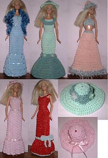 Ravelry: Gowns galore pattern by Lynne Sears Barbie Knitting Patterns, Barbie Clothes Patterns, Crochet Barbie Clothes, Afghan Crochet Patterns, Crochet Dolls, Clothing Patterns, Crochet Baby, Hat Patterns, Free Barbie