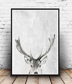 32 x 40. Home and Living, Deer Head Print, Wall Decor, Deer Wall Art, Printable art, Deer head photo, instant Download, Grey Stag print