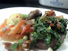 Japanese sweet potato (satsuma imo) w/ lots of toppings: bacon, tamari mushrooms, coconut kale, and more!